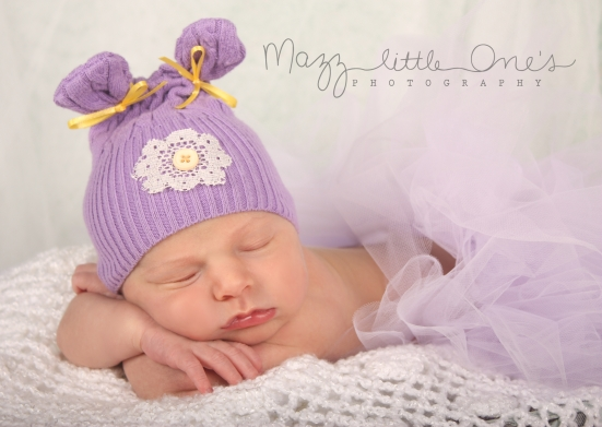 with Purple upcycle hat...